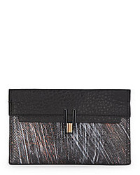 Pour La Victoire Inez Painted Snake Embossed Leather Clutch