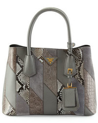 Small pythonleathercrocodile tote bag gray medium 650047
