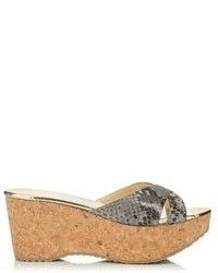 Prima shaded snake print leather wedge sandals medium 65649