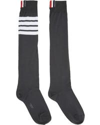 Thom Browne Grey Ribbed Knee High Four Bar Socks