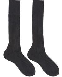 Prada Grey Ribbed Socks