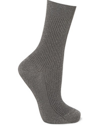 Metallic ribbed knit socks anthracite medium 3660218