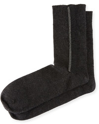 Brunello Cucinelli Monili Trim Stretch Cashmere Socks Gray
