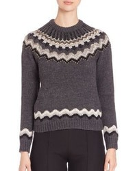 Valentino Studded Wool Alpaca Fair Isle Swetater