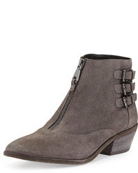 Rebecca Minkoff Alex Zip Front Ankle Boot Charcoal
