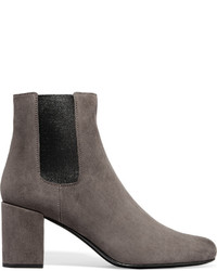 Saint Laurent Babies Suede Ankle Boots Anthracite