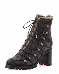 Christian Louboutin Chaletta Suede Shearling Lined 70mm Red Sole Bootie Dark Gray