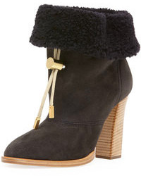 Chloé Chloe Suede Bolo Tie Fur Cuff Ankle Boot Charcoal Gray
