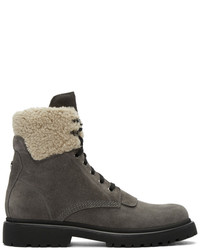 Moncler Grey Suede Patty Military Boots