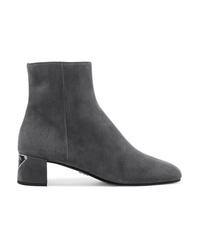 Prada Logo Appliqud Suede Ankle Boots