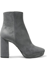Prada Suede Platform Ankle Boots Gray