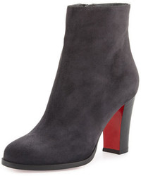 Christian Louboutin Suede Red Sole Ankle Boot Charcoal Gray