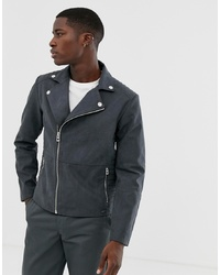 Esprit Biker Jacket In Faux Suede In Grey