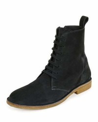 Suede lace up boot gray medium 699789