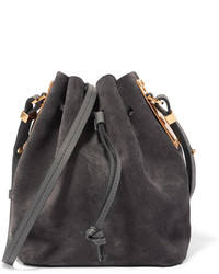 Charcoal Suede Bucket Bag
