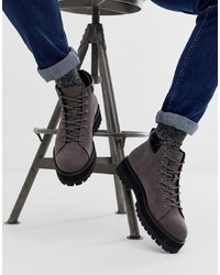 ASOS DESIGN Lace Up Boots In Grey Faux Suede With Chunky Sole