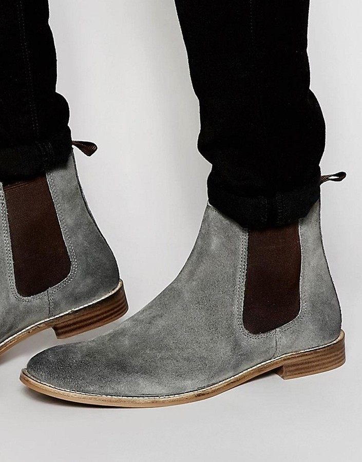 3c06b4735f6 $64, Asos Chelsea Boots In Gray Suede Wide Fit Available