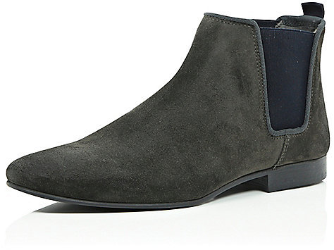 River Island Grey Suede Chelsea Boots