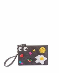 Anya Hindmarch Suede Glitter Sticker Zip Pouch Bag Charcoal