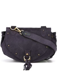 Charcoal Suede Crossbody Bag