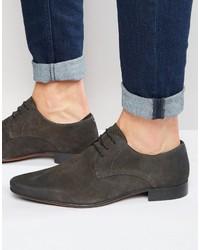 Asos Derby Shoes In Gray Suede