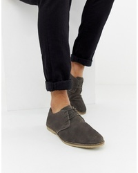 ASOS DESIGN Derby Shoes In Grey Suede With Piped Edge