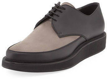 Lanvin Suede Leather Derby Creeper Gray