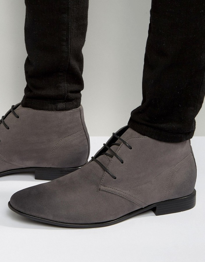 Asos Lace Up Chukka Boots In Gray Faux