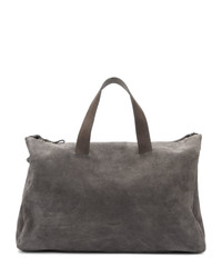 Charcoal Suede Duffle Bag