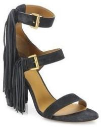 Chloé Chloe Maya Tasseled Suede Block Heel Sandals