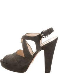Prada Platform Crossover Sandals