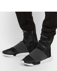 1636fd1e74125 ... Y-3 Qasa Suede Trimmed Elastic And Mesh High Top Sneakers