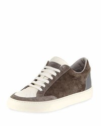 Brunello Cucinelli Suede Leather Low Top Sneakers Gray
