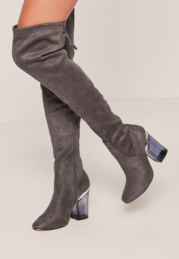 e9113358e8 Missguided Grey Faux Suede Over The Knee Clear Heeled Boots, $108 ...