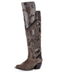 Shane embroidered western over the knee boot charcoal medium 833864