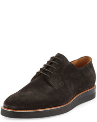 Charcoal Suede Oxford Shoes