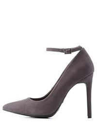 Anne Michelle Ankle Strap Pointed Toe Pumps