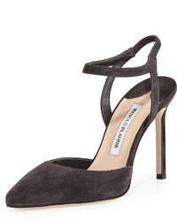Minis suede ankle strap pump charcoal medium 417138