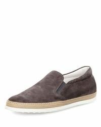 Tod's Suede Espadrille Slip On Sneaker Gray