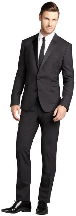 Dolce & Gabbana Charcoal Wool Silk Blend Satin Lapel Tux With Flat ...