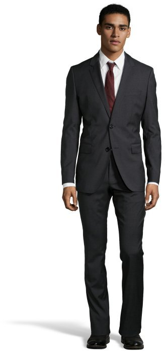 Hugo Boss Dark Grey Wool Two Button Suit With Flat Front Pants ...