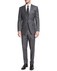 Tom Ford Oconnor Base Irregular Canvas Two Piece Suit Gray