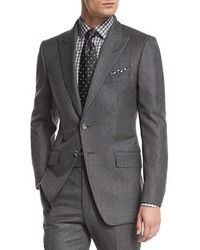 Tom Ford Oconnor Base Mini Textured Two Piece Suit Gray