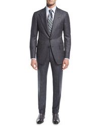 Tom Ford Shelton Base Salt Pepper Wool Silk Two Piece Suit