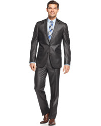 Kenneth Cole Reaction Slim Fit Charcoal Basketweave Suit