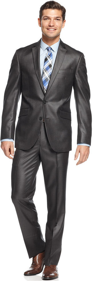 Kenneth Cole Reaction Slim Fit Charcoal Basketweave Suit | Where ...
