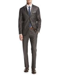 Brunello Cucinelli Solid 3 Button Two Piece Suit Asphalt