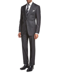 Tom Ford Windsor Base Birdseye Two Piece Suit Charcoal