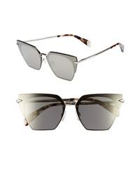 Rag & Bone 64mm Oversize Mirrored Cat Eye Sunglasses