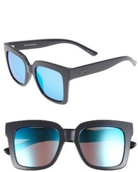 Quay Australia Supine 51mm Square Sunglasses Grey Blue Mirror